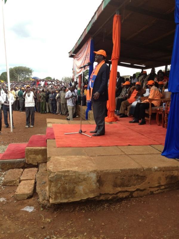 ODM Presidential candidate Raila Odinga in Eldoret