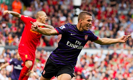 Arsenal's Lukas Podolski and Santi Cazorla add to Liverpool's woes