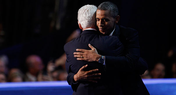President Clinton embracing Barack Obama, DNC 2012
