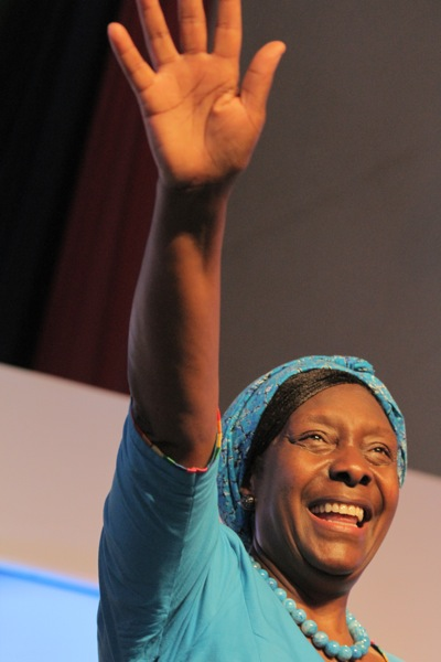 Charity Ngilu saluting supporters at her presidential launch