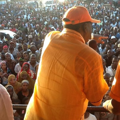 ODM leader Raila Odinga addressing a mammoth crowd at corner ya mtongwe