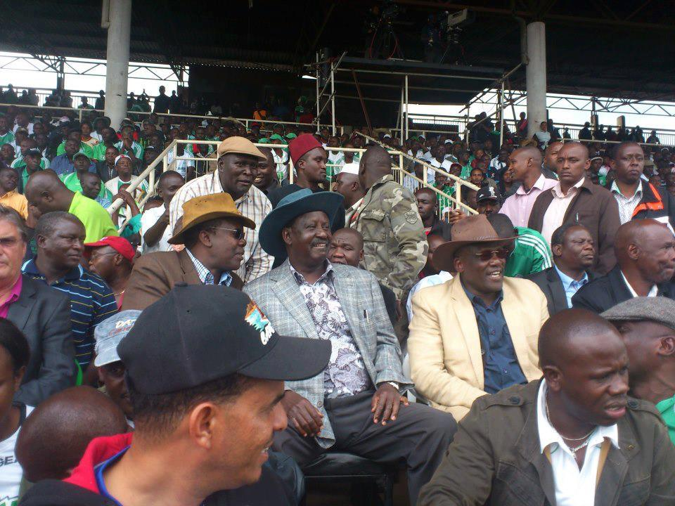 ODM leader with Wiper chief whip J Muthama at Nyayo stadium- Gor Mahia vs Tusker