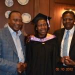 Uhuru and Eugene congratulating Presidential Candidate Hon. Ngilu on her graduation.