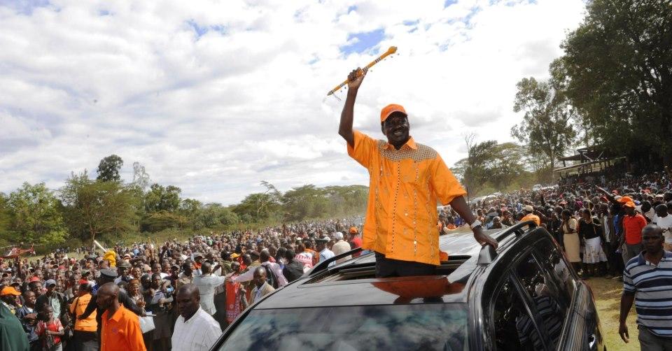 ODM leader Raila Odinga in Masai land for a political rally.