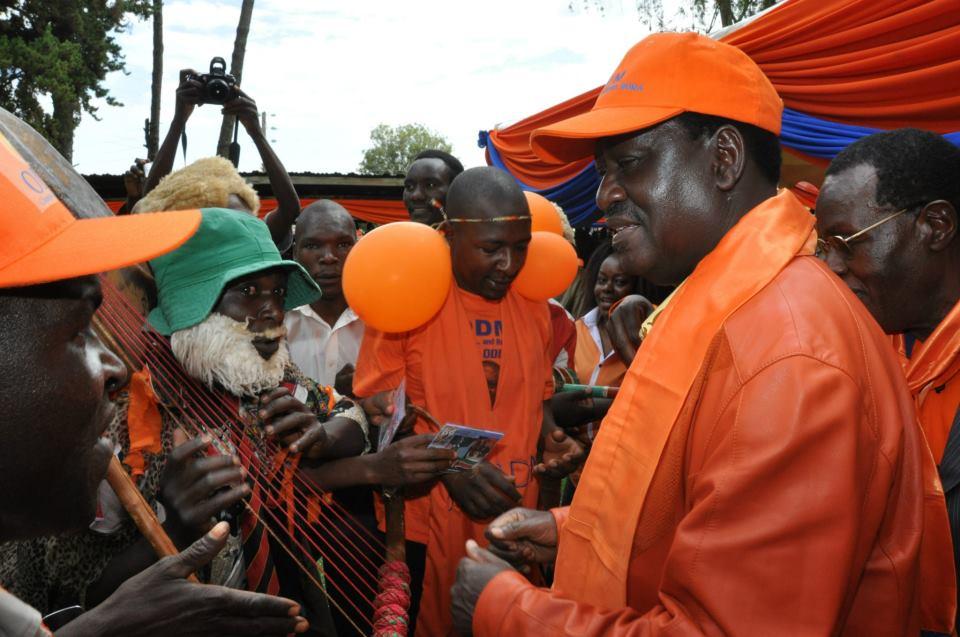 PM Raila Odinga with Gusii traditional dancers in Nyamira County