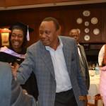 NARC leader Charity Ngilu introducing Uhuru to guests at her gradution dinner
