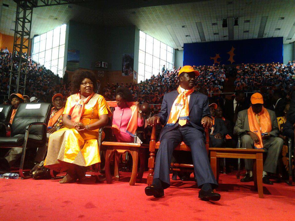 ODM leader Raila Odinga with Wife Ida at the NDC