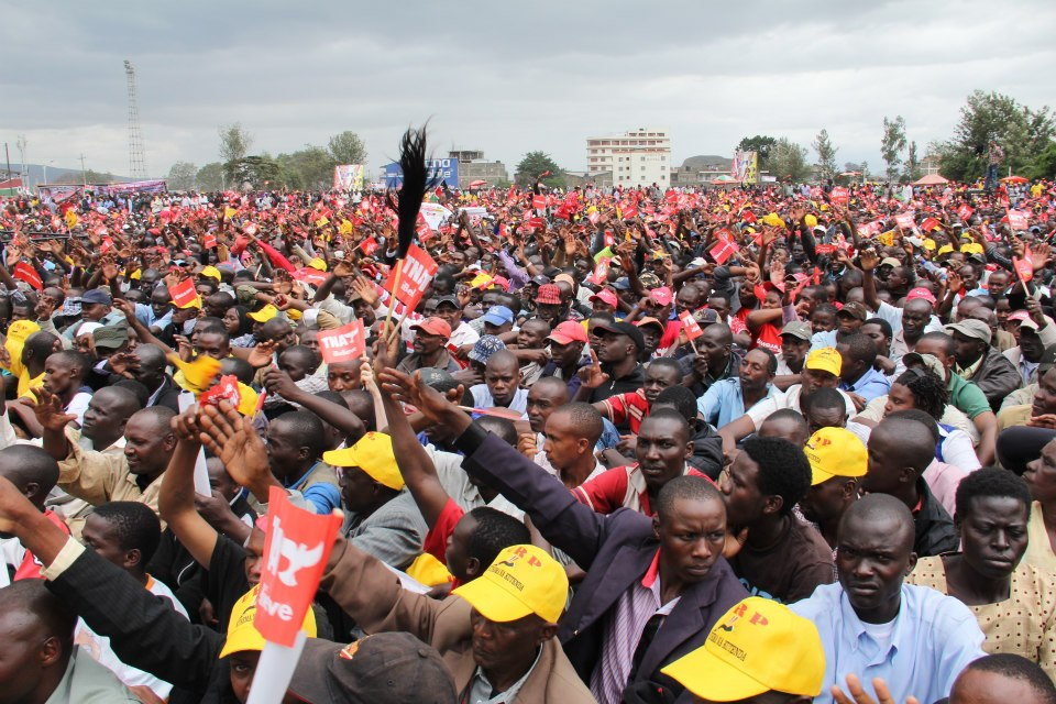Section of the supporters of URP/TNA Joint ticket at a rally in Nakuru