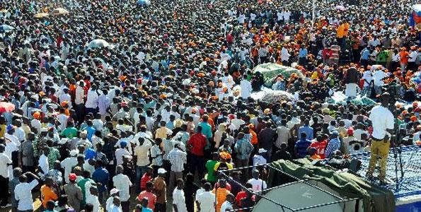 ODM Campaigns; Flood of humanity at Tononoka grounds