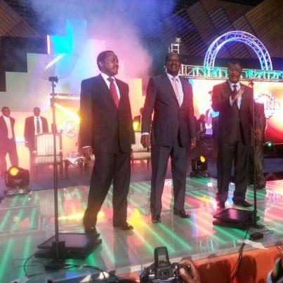 CORD Leader Raila Odinga With His Core Team At KICC