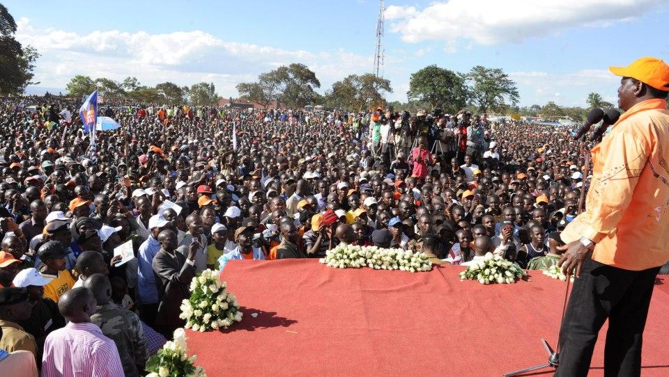 Raila Odinga addressing a mammoth crowd in Kitale
