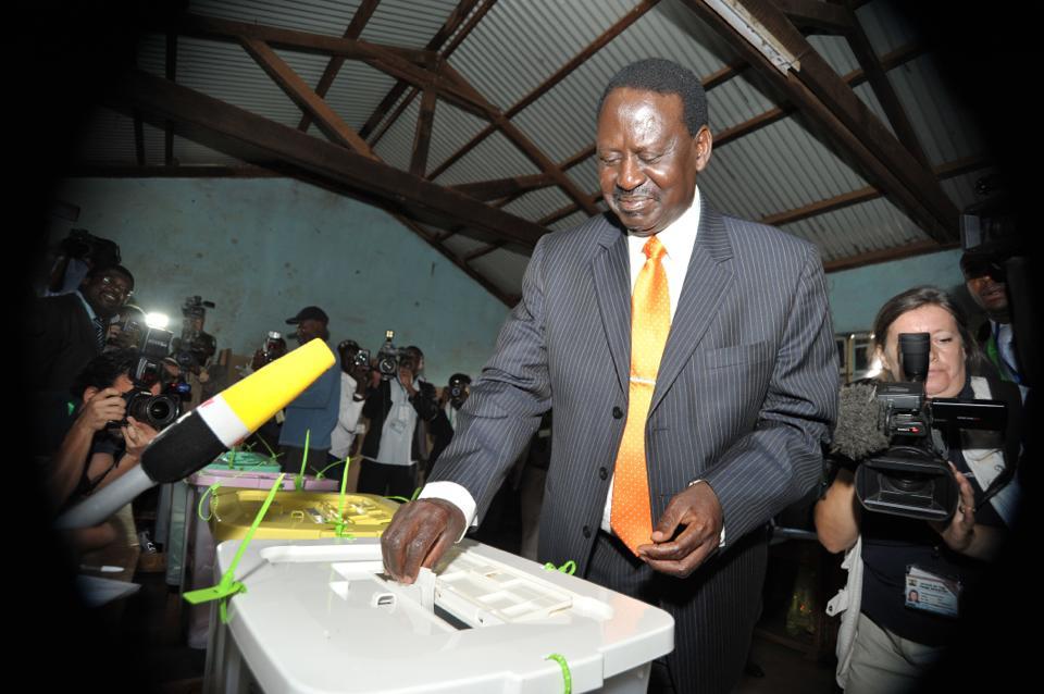 Candidate Raila Amolo Odinga Casting His Vote