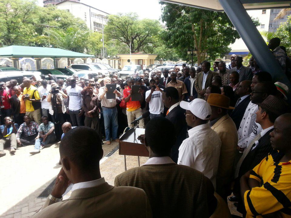 CORD President Raila Odinga Addressing The Press Outside His Campaign Offices