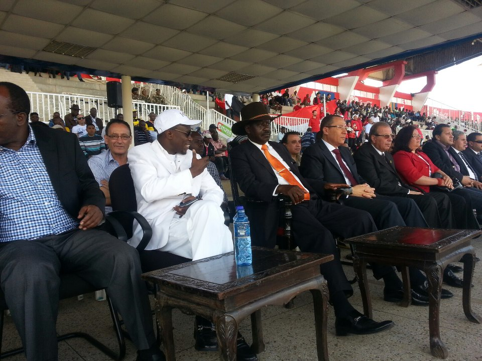 Prime Minister Rt Hon. Raila Odinga Flanked By Hon Ababu Namwamba At Nyayo Stadium