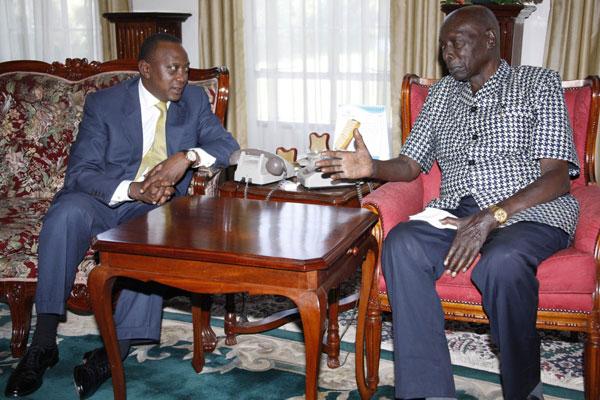 President-elect Uhuru Kenyatta Meets Former President Daniel Arap Moi At His Home