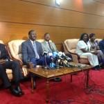 Raila, Kalonzo And Wetangula Addressing The Press At JKIA Upon Arrival From SA