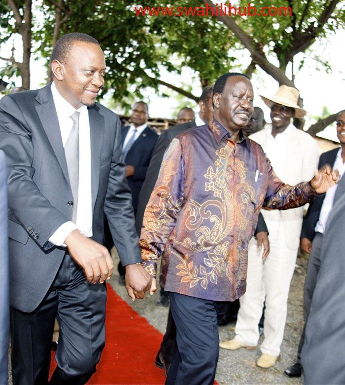 Show Of Unity: Raila Odinga Holds Hand With Uhuru Kenyatta As They Do Carpet Walk In Nyando