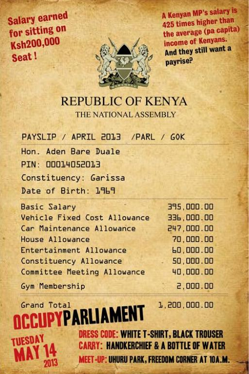 Parliament Majority Leader Hon. Aden Duale's Payslip (sample) Leaked – Picture