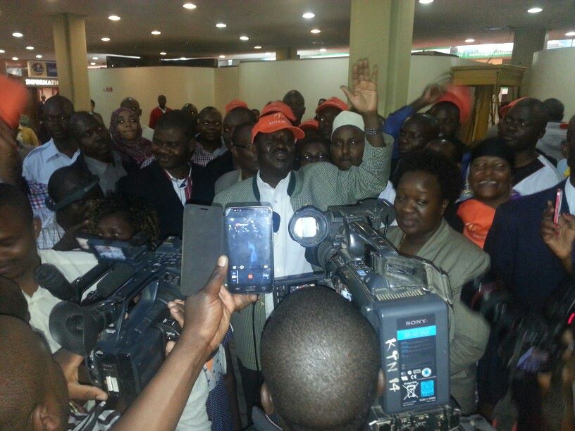 Thousands Turn Up At JKIA To Welcome Raila Odinga Back From South Africa