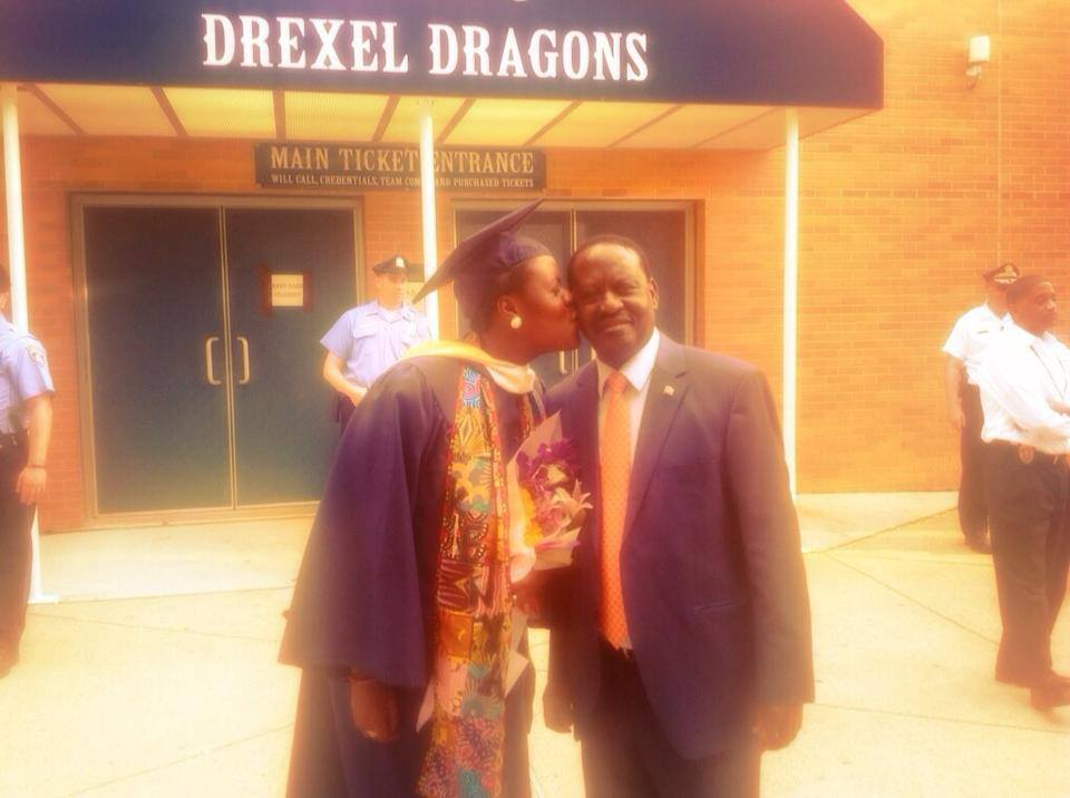 Prime Minister Odinga With Daughter Winnie At Drexel University