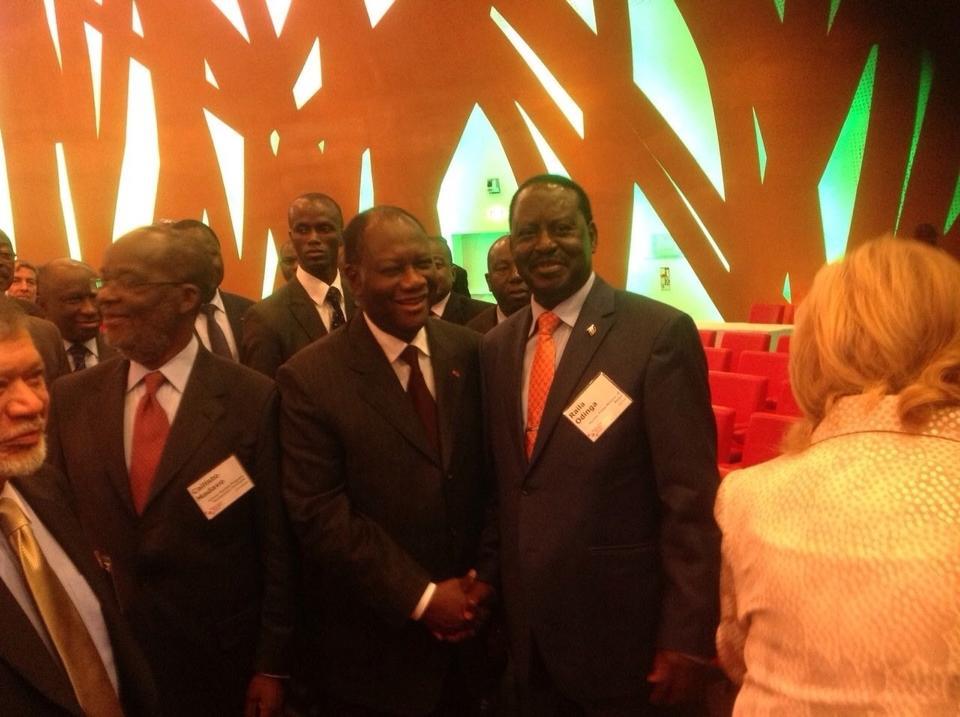 Raila Meets President Allasane Quatarra Of Cote d'Ivoire