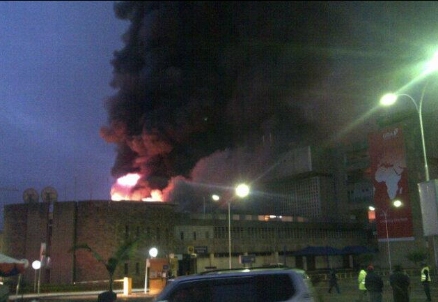 FIRE: JKIA's Arrival Terminal Engulfed By Fire