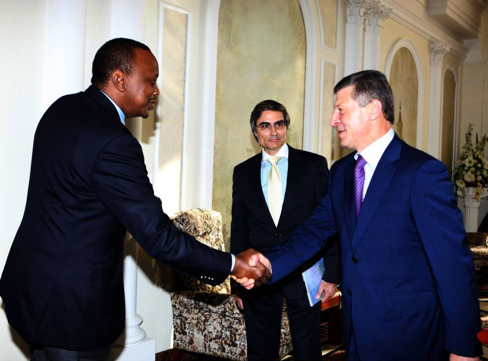 ….and Finally Uhuru Managed to Meet Russia's Deputy Assistant Prime Minister Mr. Dmitry Kozak In The Olympic Stadium
