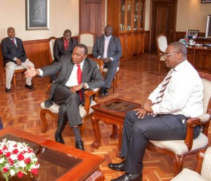 That one! President Kenyatta and Gov Kidero at the Governor's city hall offices. [photo/PSCU]