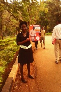 A female student holds the potrait of Maseno University students organization president, Mr Charlo Juma Mtetezi