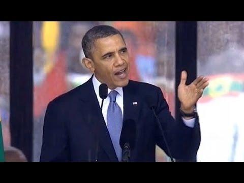President Obama's speech at the Mandela memorial service