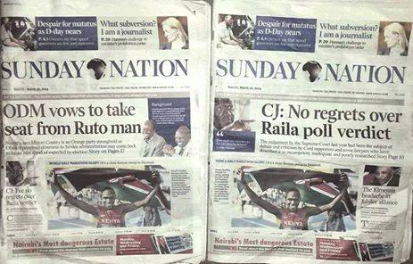 Same newspaper, same day, different headlines for different regions!
