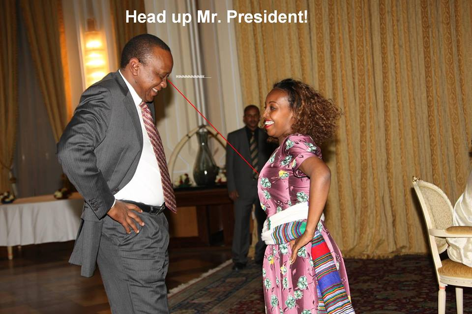 Uhuru BUSTED STARING at Ethiopian  BEAUTY
