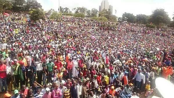 Welcoming Raila; Uhuru Park packed to capacity, no space for hawkers to walk…