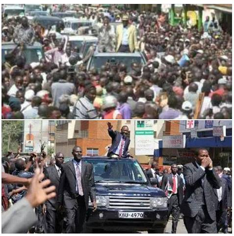 Raila Vs Uhuru: Who got the people? check Eldoret town SAME PLACE SAME MONTH, who is the Peoples' Leader?