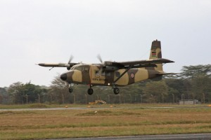 136 is one of 10 surviving Harbin Y.12-II Panda's that were acquired from China seen landing at Eastleigh's Moi Air Base.