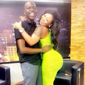 Larry Madowo poses with Verah Sidika. He is not erect.