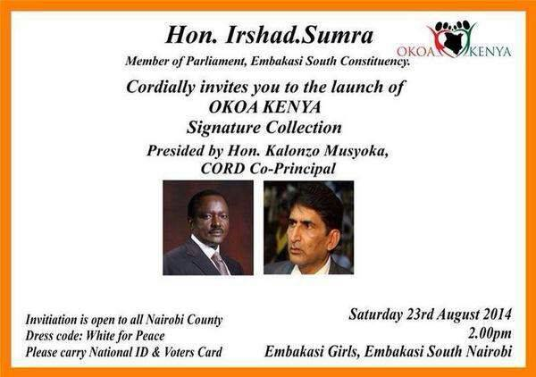 Kalonzo Musyoka and Gov Kidero to KICK OFF Nairobi County Referendum Signature Collection  in Embakasi