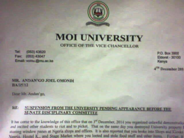 Moi University SUSPENDS 36 'Luo' students for organizing 'unlawful demonstrations'